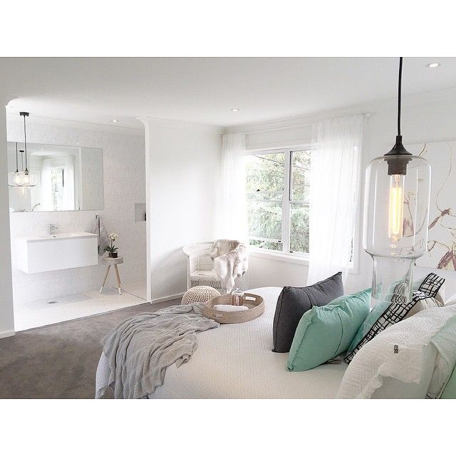 Three Bird Renovations mix our  vintage style 'Clear Laurent' pendant light with a softly furnished bedroom