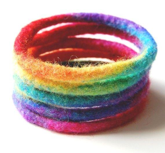 Hand felted bracelets