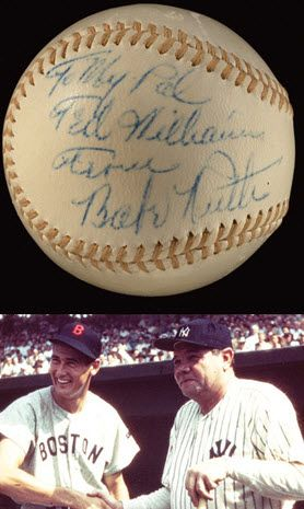 Babe Ruth autographed baseball presented to Ted Williams when they met late in Babe's life.  Will be sold next month via Hunt Auctions at Fenway Park.