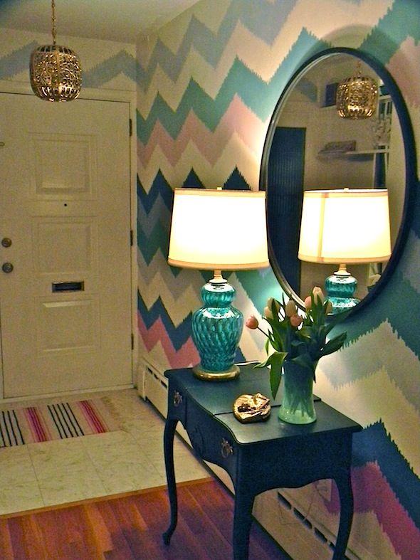 handpainted walls in chevron. fun color combo.. love