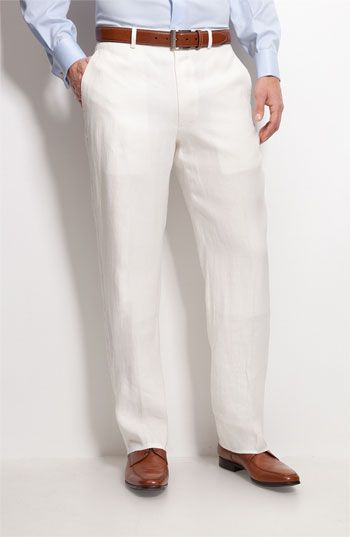 John W. Nordstrom® Flat Front Linen Pants available at #Nordstrom