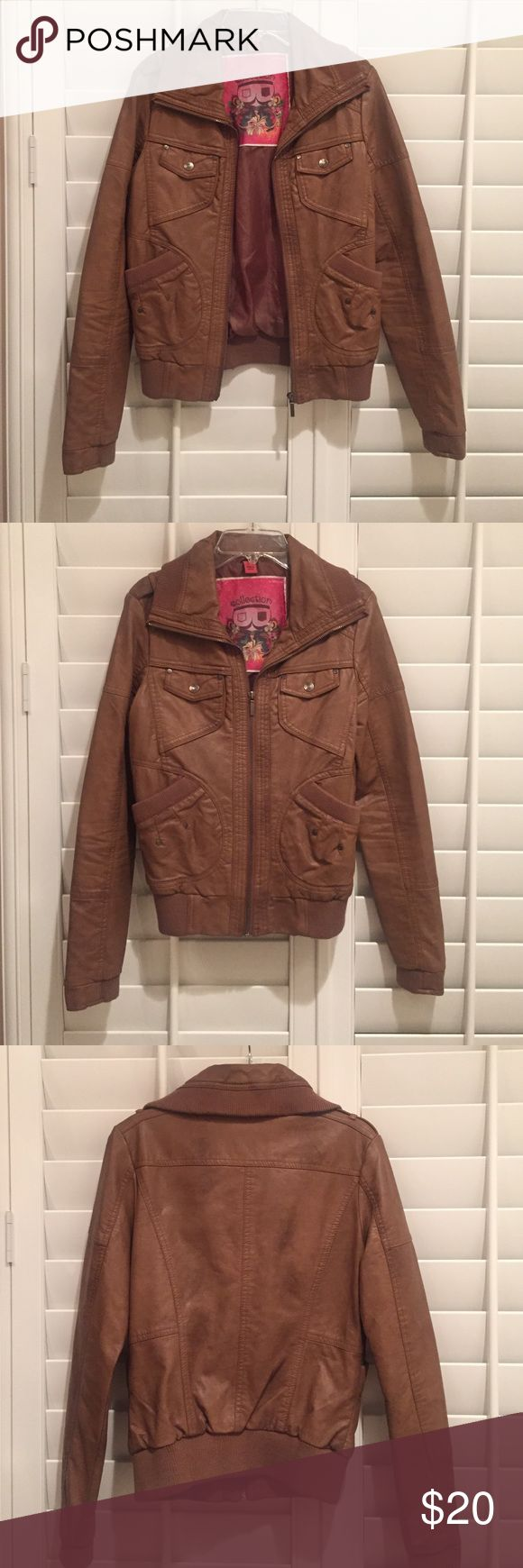 Tan Leather Jacket Super cute and stylish leather jacket with pockets. Jackets & Coats