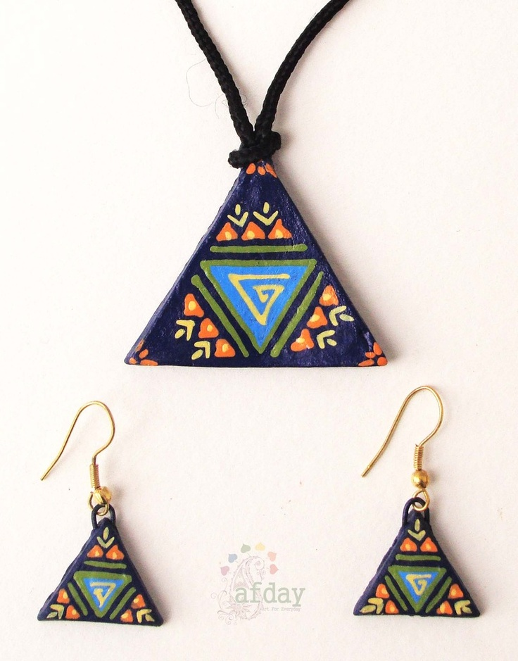 http://www.afday.com/collections/jewellery-1/products/blue-triangle-terracotta-set-1  Rs 485