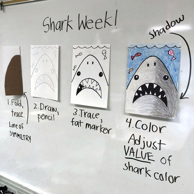 Here's my favorite way to make a simple shark drawing, and modify it for different grade levels. Younger students learn about symmetry, older can add a shadow.