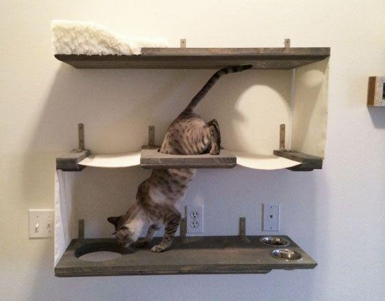 3 Level Cat Bunker Onyx / Black / Cream by CatastrophiCreations