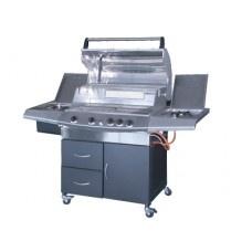 Barbecue gas GDLC Futura inox Jumbo  Modello inox a gas con pietra lavica e piastra in ghisa smaltata, con braciere cm. 81x50 a 5 bruciatori,  accensione piezo, con coperchio inox e termostato per cottura a forno, su carrello interamente in  acciaio, con sportello e 2 cassetti con maniglie, fornello laterale e vano lavabo portavivande termoisolato.  Dimensioni cm. L164xP62xH123 $1024,71€