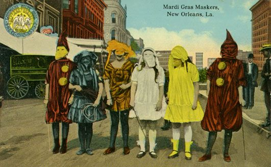 Vintage Mardi Gras postcard that reminds me of True Detective