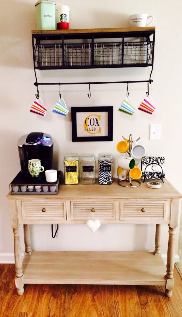 Kitchen Small Coffee Station Table With Drawer And Storage Plus Hanging Cup Hooks Under Cabi With Shelf Ideasjpg Kitchen Coffee Bar Ideas Cute Kitchen