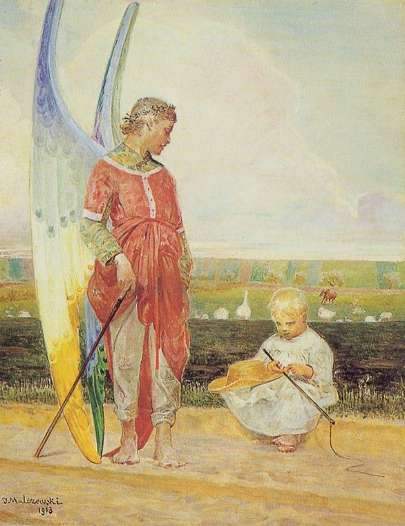 Jacek Malczewski - Angel and the LIttle Shepherd Boy