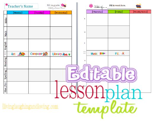weekly lesson plan template excel - Intoanysearch