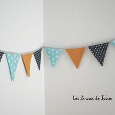 guirlande fanion tissu 100 jaune moutarde et bleu - Guirlande Fanion Chambre Bebe