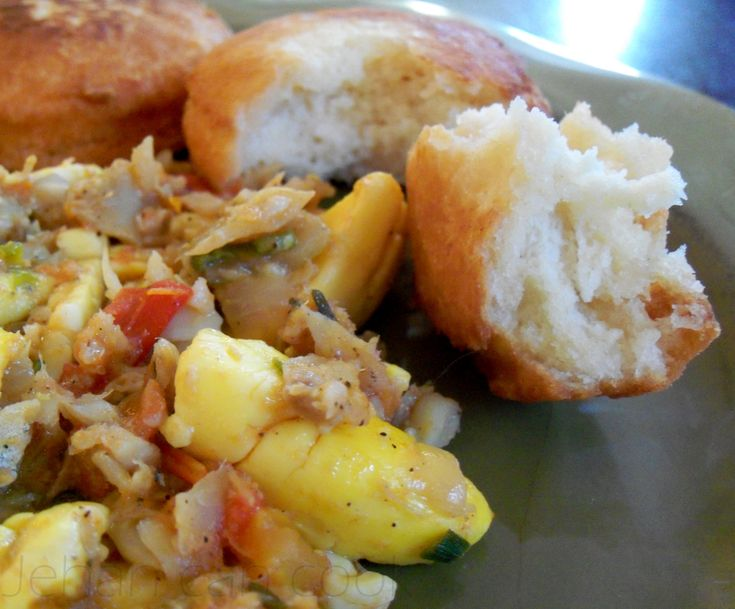 Ackee, saltfish and fried dumplings...my favorite Jamaican dish.