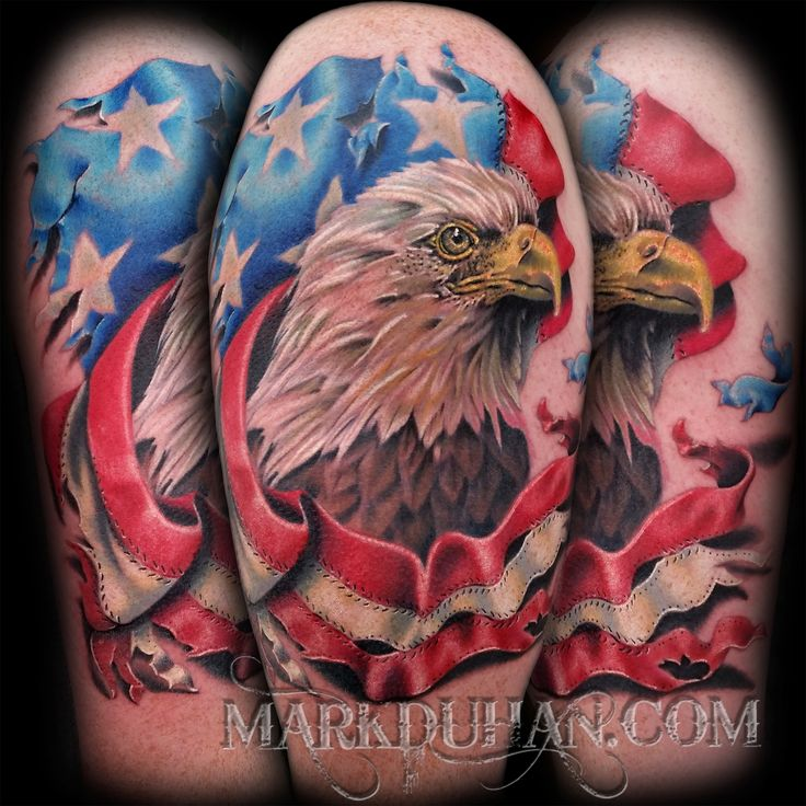 Eagle And Flag Tattoo By Mark Duhan Tattoos Pinterest Tattoo Wasp Tattoo And Piercings