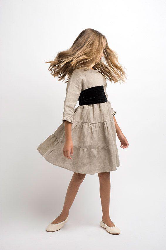 Vestido lino STC con fajín - Sainte Claire   Ropa de niñas, niños y bebés