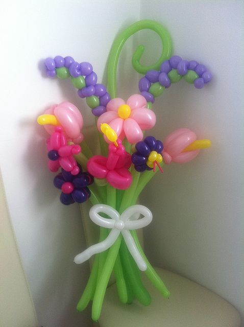 Balloon Flower Bouquet. My friend Summer made these for me for my birthday yesterday! ;) Thanks ya little clown! Love ya!