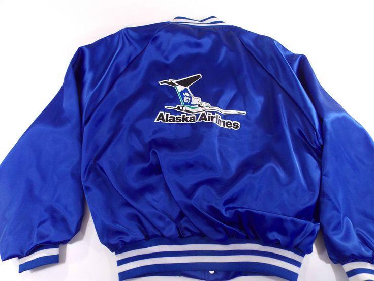 Alaska Airlines Nylon Jacket Blue Vintage 80s L Large Plane VTG Rare Airline #AlaskaAirlines #VarsityBaseball