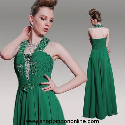 Green Chiffon Prom Dress - Halter Backless $194.40 (was $243) Click here to see more details http://shoppingononline.com/prom-dresses/green-chiffon-prom-dress-halter-backless.html #GreenChiffonPromDress #GreenHalterPromDress #GreenBacklessPromDress #GreenPromDress #GreenDress #PromDresses