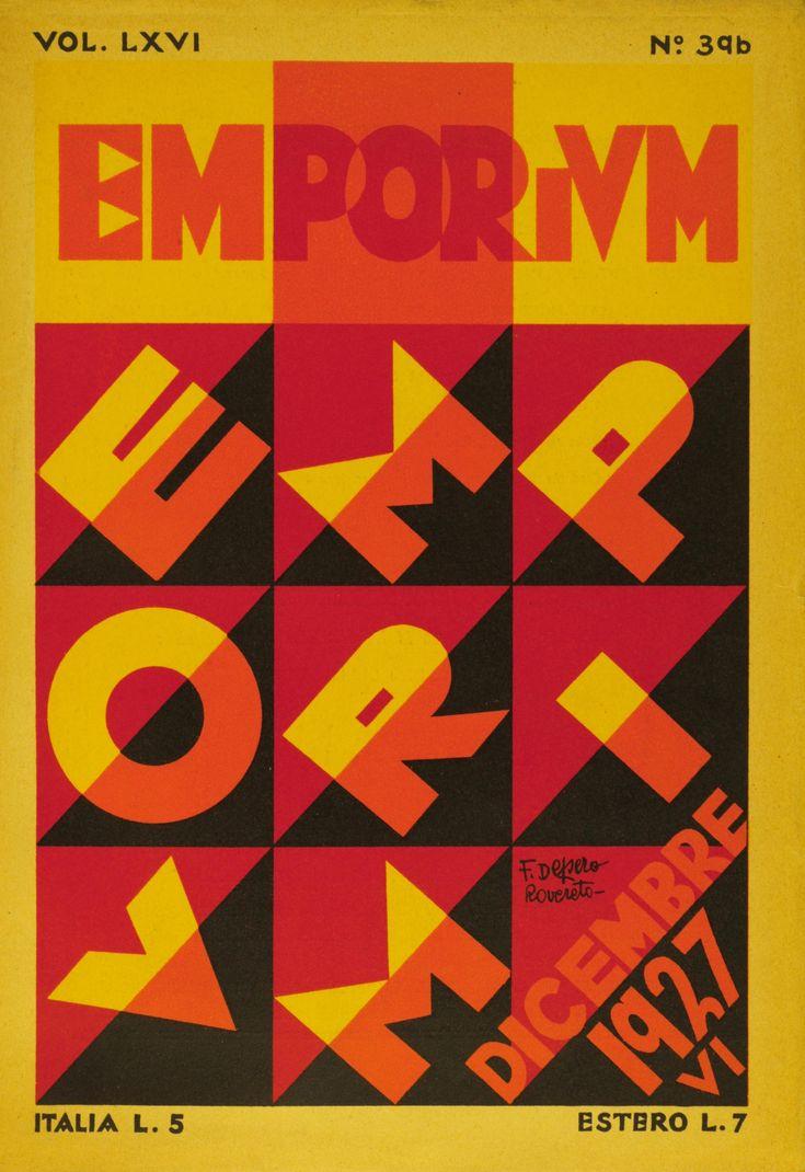 """""""Emporium Magazine"""", de Fortunato Depero.  1297. Futurismo. Tipografia sem serifas, alto-contraste, geometria, simplificação de formas, formas  agudas, dinamismo (movimento, velocidade)."""