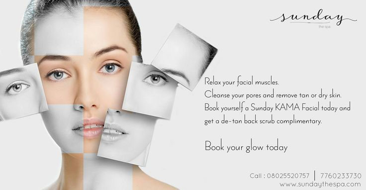 Relax your facial muscles. Cleanse your pores and remove tan or dry skin. Book your self a Sunday KAMA Facial today and get a de-tan back scrub complimentary.  Book your glow today, Call : 7353572200  Visit :www.sundaythespa.com #sundaythespa #kamafacial #backscrub #facials #skincare #organicspa