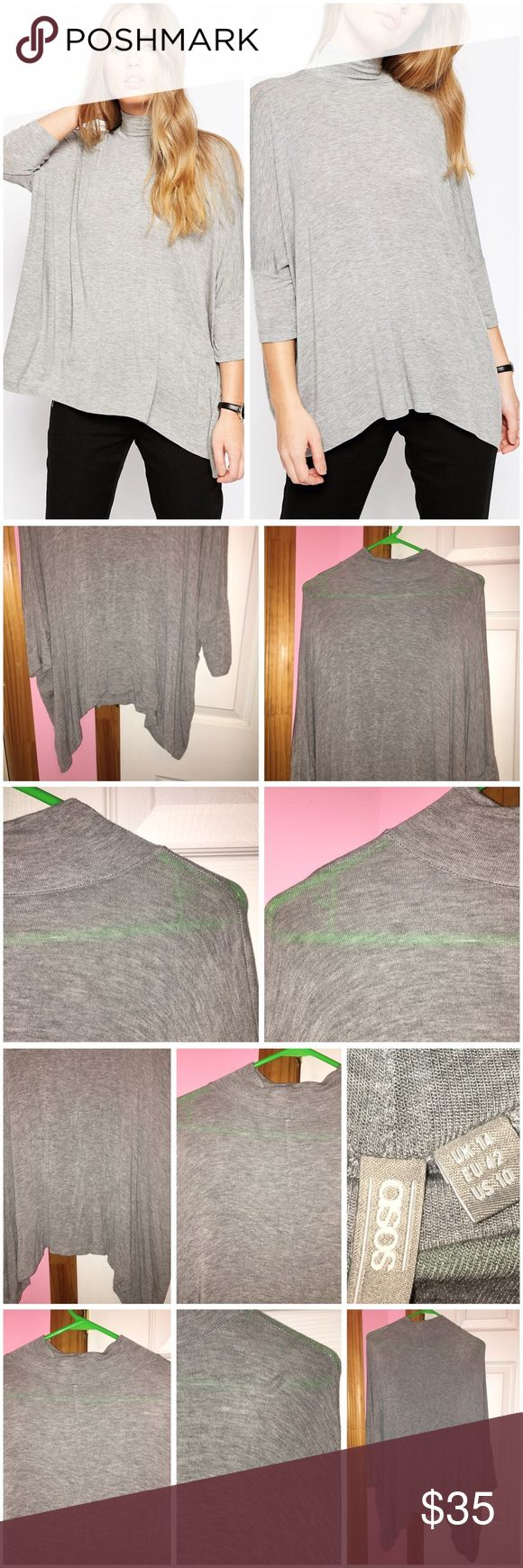 Asymmetric Hem High Neck Top Only tried on; has been washed. Color is gray marl. Turtle neckline. Asymmetric curved hemline. Runs true to size. Stock photos from ASOS. ❌NO TRADES❌ ASOS Tops