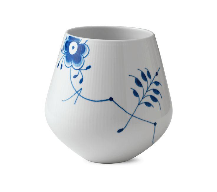 Blå Mega Riflet Vase, stor