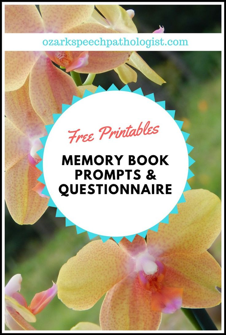 Free Patient Questionnaire to help develop memory books for dementia and cognitive therapy at Ozark Speech Pathologist