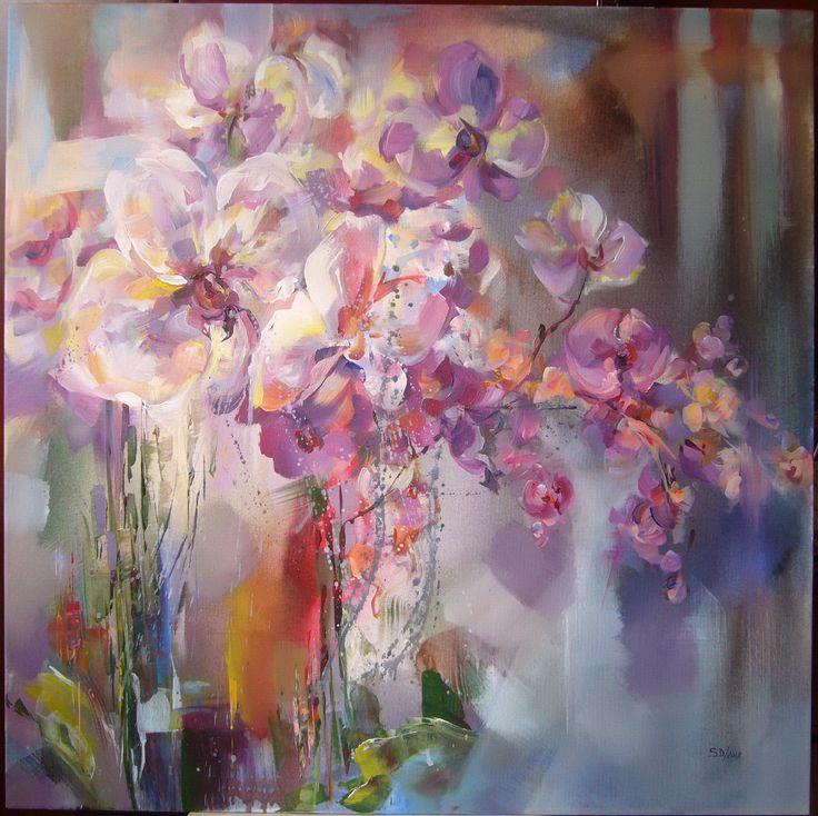 Orchids- acrylic on canvas, 80/80 cm, 2018, Derecichei Simona Mihaela