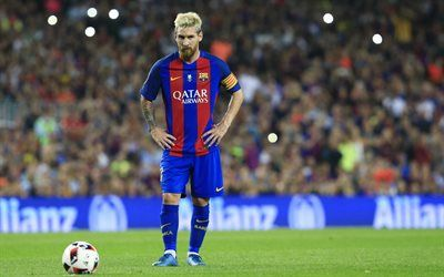 Download wallpapers Lionel Messi, Barcelona, football, Spain, football stadium, Leo Messi