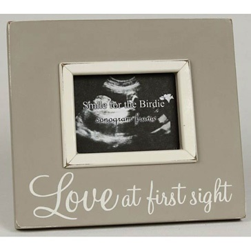 taupe love at first sight sonogram photo wooden frame