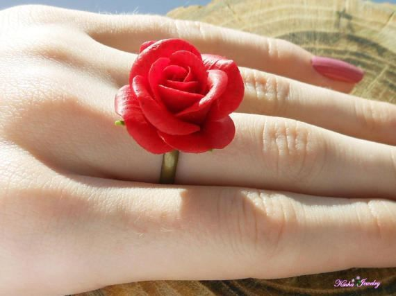 Polymer Clay Red Rose Jewelry Fimo Diy Polymer Clay Tutorials Romantic Gifts For Her Polymer Clay Flowers Rose Jewelry