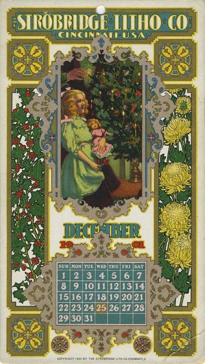 December, 1901, Strobridge Lithographing Company, from the Strobridge Calendar Card Samples, 1899-1912: