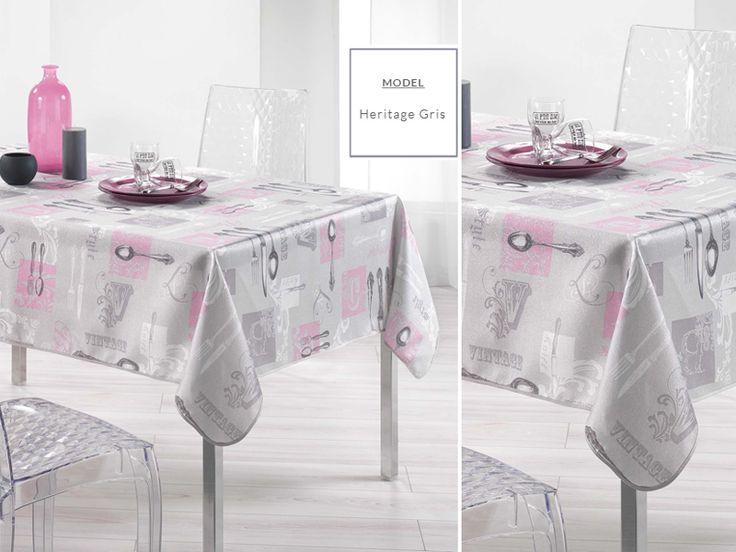 Obrus szary dekoracyjny na stół w różowo szare wzory