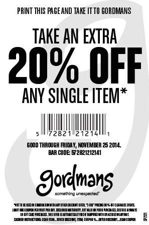 Gordmans 20 percent off coupon