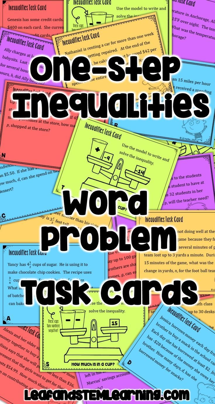 Onestep inequalities word problems task cards