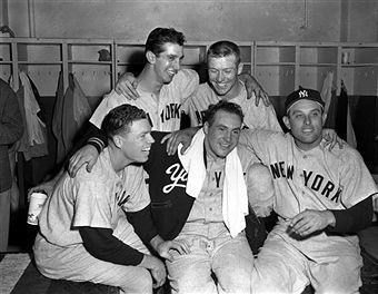 Gil McDougald, Billy Martin, Mickey Mantle, Gene Woodling surround Jim McDonald, of the New York Yankees, after Game 5 of the World Series on October 4, 1953 against the Brooklyn Dodgers at Ebbets Field in Brooklyn, New York. McDonald pitched into the eigth inning while the others all homered as the Yankees won, 11-7. The Yankees lead the Series 3 games to 2. Olen Collection/Diamond Images/Getty Images)
