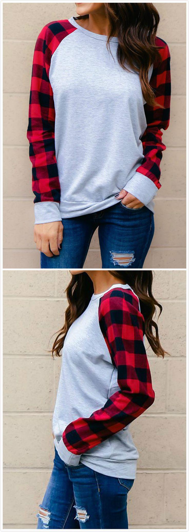 Red black plaid / buffalo check sleeves on grey sweatshirt