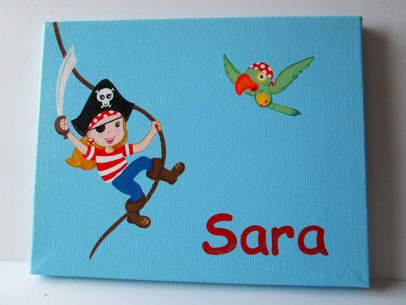 """Kids door sign, Custom kids Pirate door sign, 12""""x8""""."""