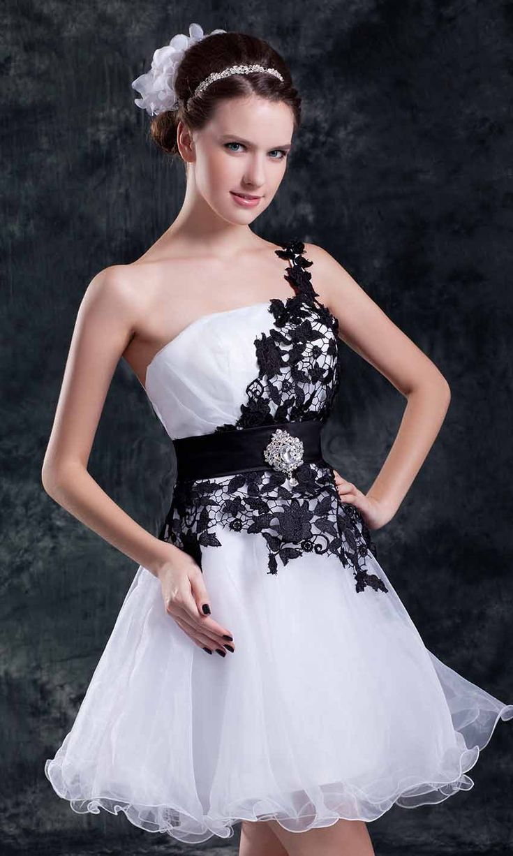 Black dress under white graduation gown - Black And White Shorts Prom Dresses 2015 One Shoulder Dresses Graduation Dresses White Weddings Wedding Gowns Tulle