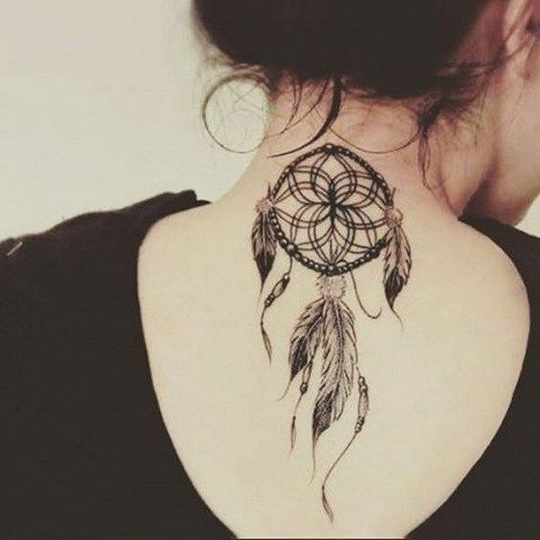 Small Dreamcatcher Tattoo on Back of Neck.