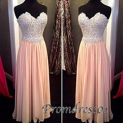 #promdress01 prom dresses- 2015 sweetheart strapless blush pink chiffon A-line long bead prom dress for teens, ball gown, occasion dress #prom2k15 #promdress -> http://www.podecut.com/Goods/Goods/id/5329489.html