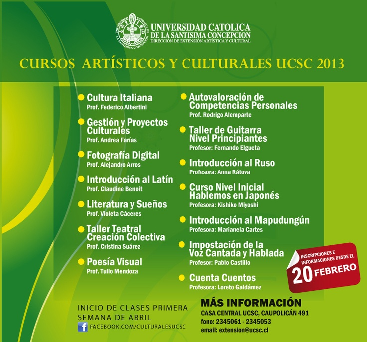 Cursos de Extensión UCSC . Informaciones al 2345061, 2345053 , extension@ucsc.cl