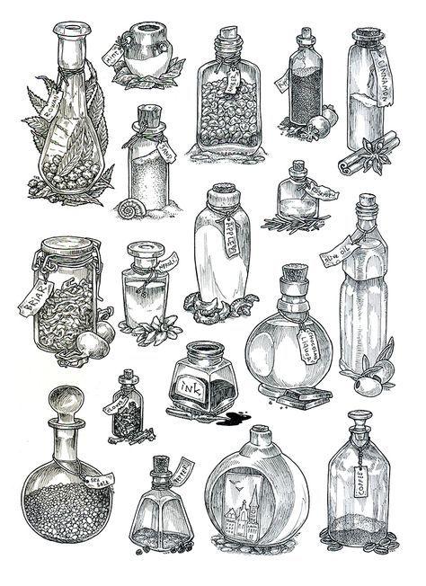 Dessins tatouage, bouteilles en verre, encre noire