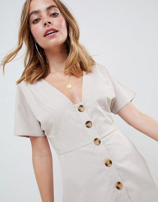 4bb93a0d34 DESIGN Petite button through mini casual skater dress