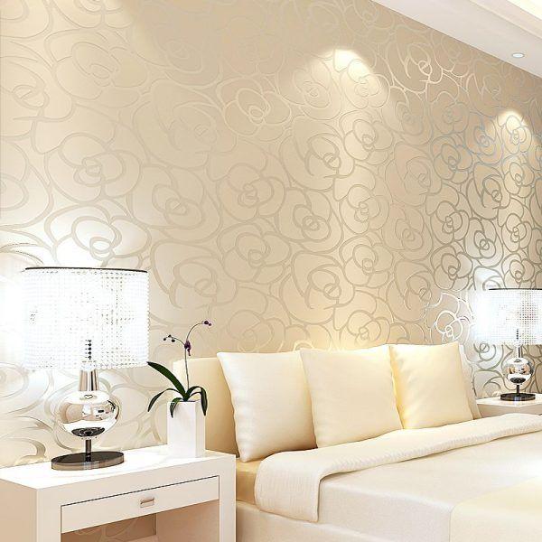 Classic Style Velvet Wallpaper Gold Rose Flower Living