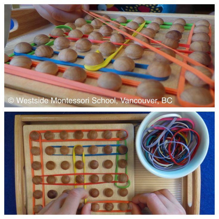 We love geo boards! At first glance, it looks like children are simply making plane figures using rubber bands. With a closer look, one may notice that with this 2D representation of shape, there is also rotation, angles, position, space, symmetry that can all come into play. Children may not know that a hexagon was created but get an impressionistic, hands-on sense of the six-sided figure on the board.   That or they may just think that shapes are really neat!