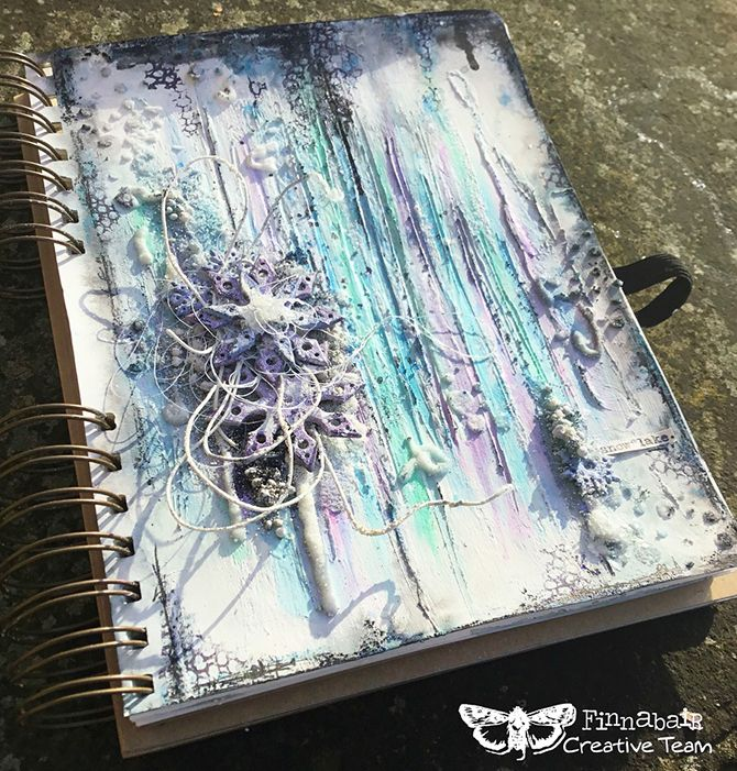 """""""This month's Art Recipe created thoughts and feelings that are expressed through my 'Wintertime' journal page. It was a very 'magical' page as the first snow of the season fell all day long as I created, created, created... ;) I adore tiny detail and Finnabair's Art Ingredients range is a winter-wonderland! :)"""" ~ Kassa Hayselden"""