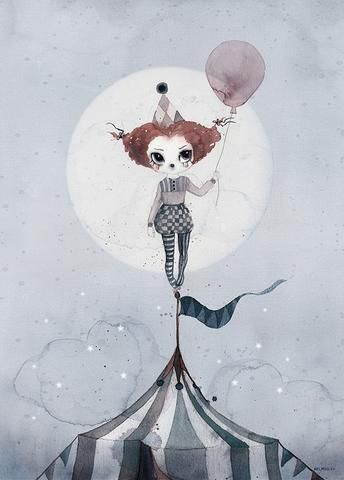 Mrs Mighetto 'Circus Mighetto' Miss Gertrude watercolour art print - 50x70cm $85.00 (https://norsu.com.au/collections/mrs-mighetto/products/mrs-mighetto-circus-mighetto-miss-gertrude-watercolour-art-print-50x70cm?variant=29179970691)