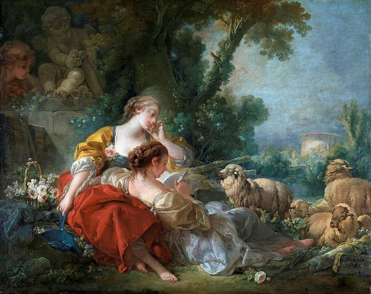 François Boucher (French, 1703-1770) - The School of Friendship, 1760 (Oil on canvas. Staatliche Kunsthalle Karlsruhe) - - The center of attention is the letter from the absent male. The two young women are in a pastoral setting. The brunette reclines and reads the letter while the blond listens and dreams. While the letter may declare love for one of the women, their friendship is strong and such a declaration brings them closer together, as evidenced by the position of their bodies.