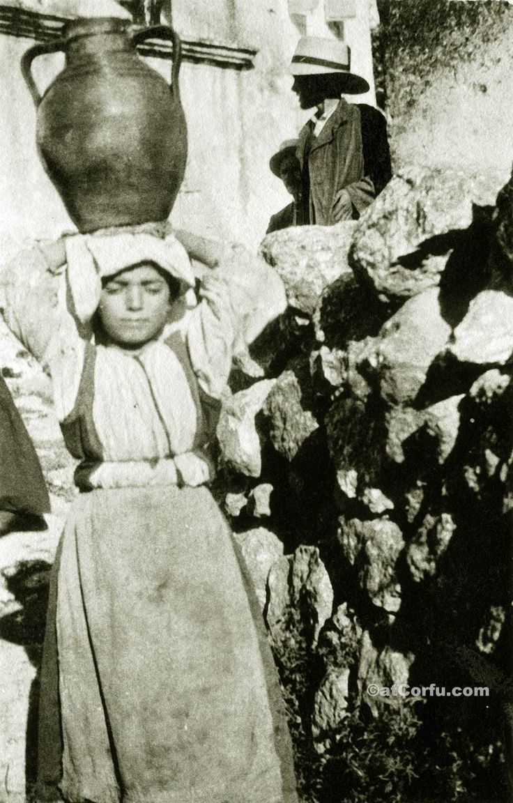 Corfu old photos-girl carry water 1930