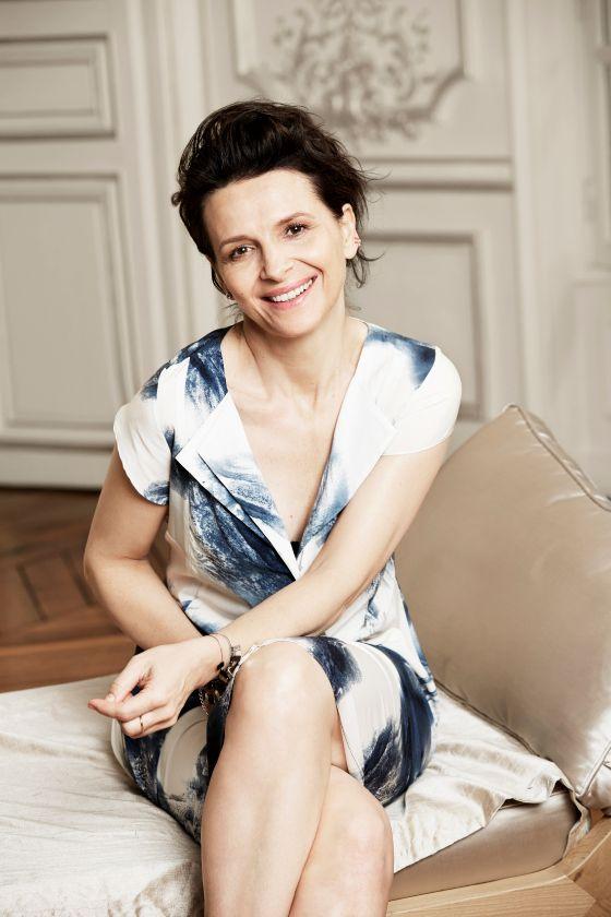 Juliette Binoche for Blue Illusion - wearing graphic print silk dress